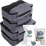 Packwürfel 4pcs Wert Set für Reisen - Plus 6pcs Gepäck Veranstalter Zip Beutel (Gray)