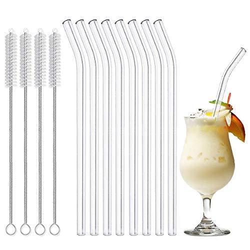 LAKIND Glas Strohhalm Wiederverwendbar Glas Trinkhalme Eco Nachhaltige Strohhalme für Cocktail Smoothie Tee, 8er Set Mit 4 Reinigungsbürsten (Gebogen Strohhalme 8 Stück) -