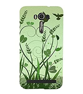 HiFi Designer Phone Back Case Cover Asus Zenfone 2 Laser ZE601KL (6 Inches) ( Green Birds Flying Grasss )