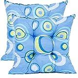 Sitzkissen Set 2tlg ca. 42x42 cm mit Bändern zur Befestigung 10 cm dick (blau mit Kreisen)