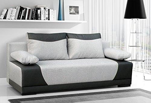 Couch mit Schlaffunktion Sofa Schlafsofa Wohnzimmercouch Bettsofa Ausziehbar - SERPA (Grau)