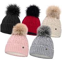 HEYO Damen Wintermütze mit Fleece Innenband H18527 | Slouch Beanie Winter Mütze | Warme Strickmütze mit Bommel | Bommelmütze in Verschiedenen Farben