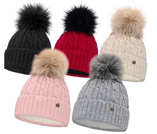HEYO Damen Wintermütze mit Fleece Innenband H18527 | Slouch Beanie Winter Mütze | Warme Strickmütze mit Bommel | Bommelmütze in Verschiedenen Farben (Beige)