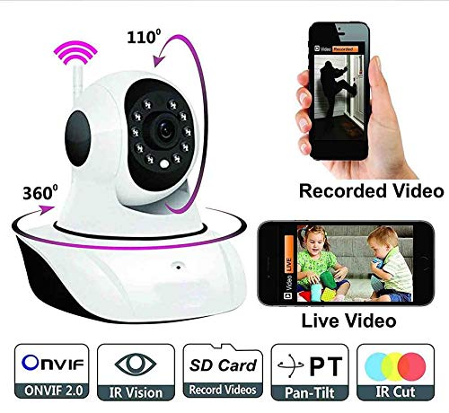VOLTAC Wireless HD IP WiFi CCTV [Watch Online Demo Right Now] Indoor Security Camera (Support Upto 128 GB SD Card) Model 74223