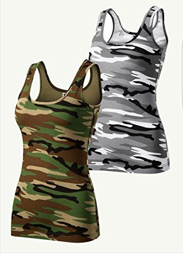2er pack Camouflage Damen T-Shirt Tanktop (Grau Braun, X-Small)