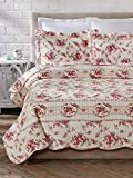 Cozy Line Home Fashions 3 Piece Shabby Chic Vintage Rose Cotton Quilt Set, Full/Queen