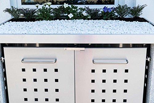 Mülltonnenbox Pflanzdach 4×4 Design Edelstahl 240 Liter 3 Mülltonnen - 6