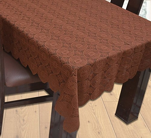Yellow Weaves Designer Dining Table Cover Net Fabric 60X90 Inches (Brown)