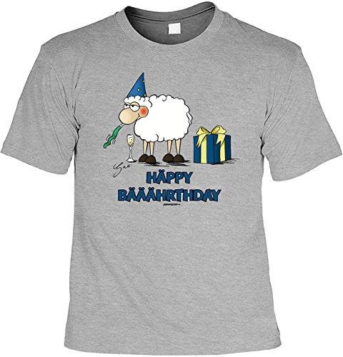 Spaß-Shirt/ Comic-Shirt/Fun-Baumwollshirt mit Aufdruck: by Gali Häppy Bääährthday - geniale Geschenkidee Dunkelgrau