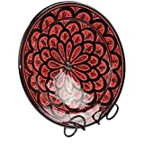 Simandra Orientalischer Keramik Teller handbemalt marokkanische Keramikschüssel Wandteller mittel Color Rot - 3