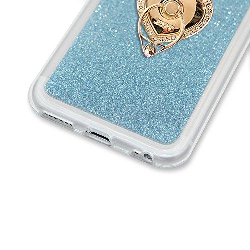 Per iPhone 7 Custodia,Funyye Glitter Brillare Azzurro Graduale Cambiano Colore Stile Cover [Con Pellicola Protettiva] Morbido Sottile Silicone Gomma Gel TPU Protettivo Caso Originale Antiscivolo Coper Design #30