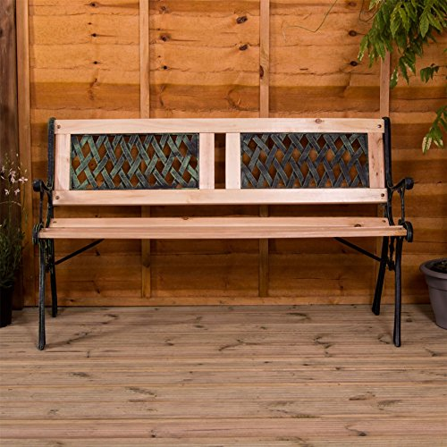 Home Discount Garden Bench, Twin Cross Style Design 3 Seater Outdoor Furniture Seating Wooden Slats Cast Iron Legs Park Patio Seat