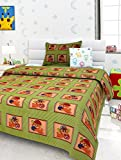 Story@Home Love Cat Kids 136 TC Cotton Single Bedsheet with 1 Pillow Cover - Green