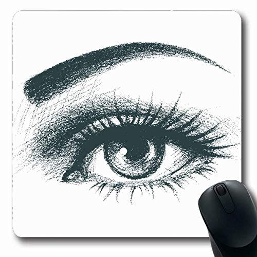 che Schwarzes handgezeichnetes Auge Abstrakte Nahaufnahme gezeichneter Eleganz-Augapfel Sehen Sie längliche Form-rutschfeste Spiel-Mausunterlage Gummi-längliche Matte,Gummimatte 11 ()