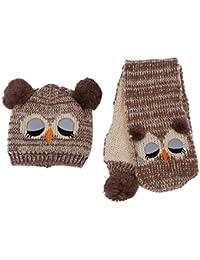 Kappe Schal - SODIAL(R)Winter Baby Stricken Haekeln Kleinkind Kinder Warm Baelle Hut Beanie Kappe Schal (braun)