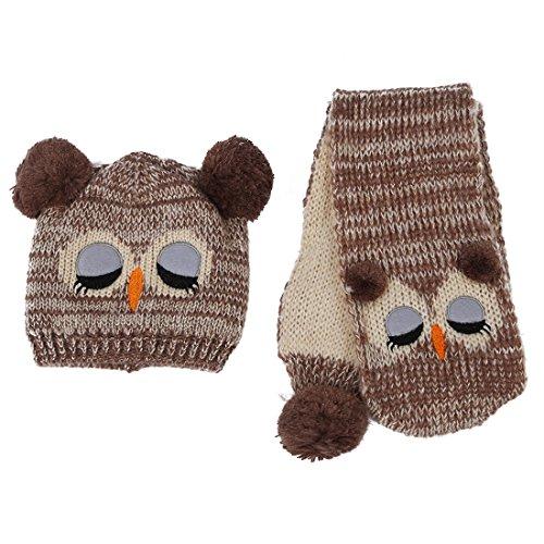Kappe Schal - TOOGOO(R)Winter Baby Stricken Haekeln Kleinkind Kinder Warm Baelle Hut Beanie Kappe Schal (braun) (Owl-hut-schal)