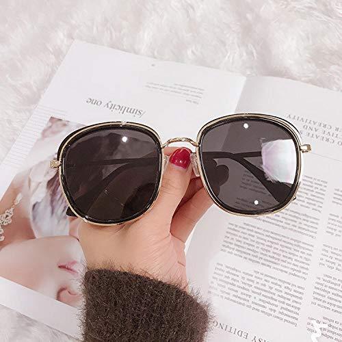 BHLTG Sonnenbrille Frauen Flut rundes Gesicht schlank Retro großen Rahmen Sonnenbrille ovalen Rahmen Reisen Urlaub UV-Schutz Sonnenbrille-4