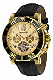 Calvaneo 1583 Herren-Armbanduhr Sea Command GOLD Shiny Creme Analog Automatik Leder gold 107791
