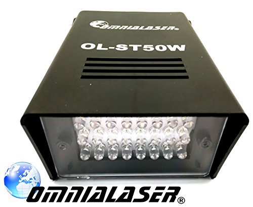 OmniaLaser OL-ST50W - Efecto de luz estroboscópica - Lámpara estroboscópica LED, Blanco