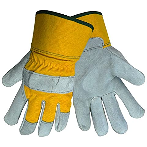 Global Glove 2190 Leather Gunn Cut Premium Grade Glove with Yellow Canvas Back and Washable Safety Cuff, Work, Medium (Case of