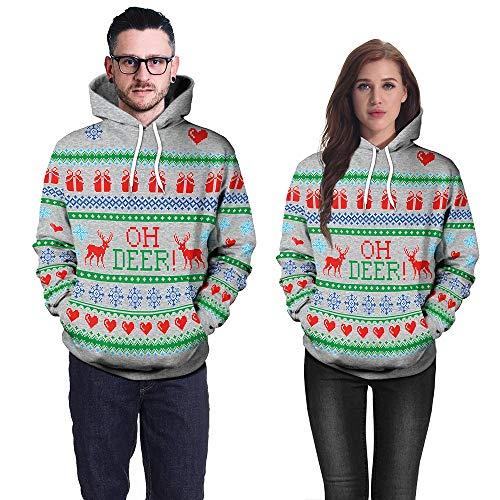 Elch-outdoor-beleuchtung (OverDose Damen Winter Karneval Mode Stil Frauen Weihnachten 3D Party Schneeflocke Elch Print Top Hoodie Sweatshirt Pullover Outdoor Schnee Dünne Sweatshirts(Grün, EU-44/CN-XL))