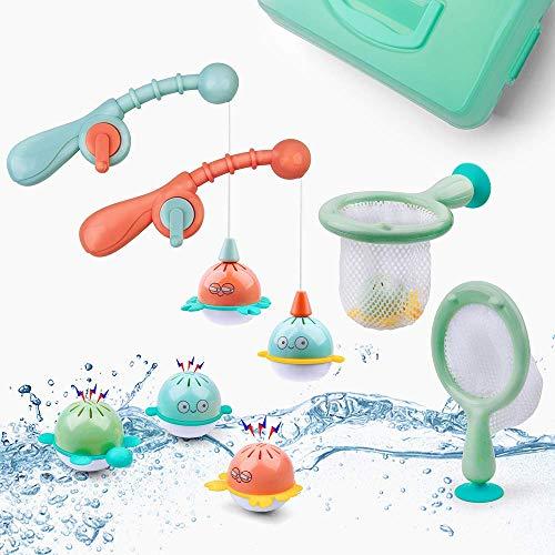 GizmoVine Badespielzeug Schwimmendes Wasserspray Spielzeug und Suppenkelle mit Aufbewahrungstasche,das Fischernetz Spielzeug für Kinder in Badewanne Badezimmer Schwimmbad