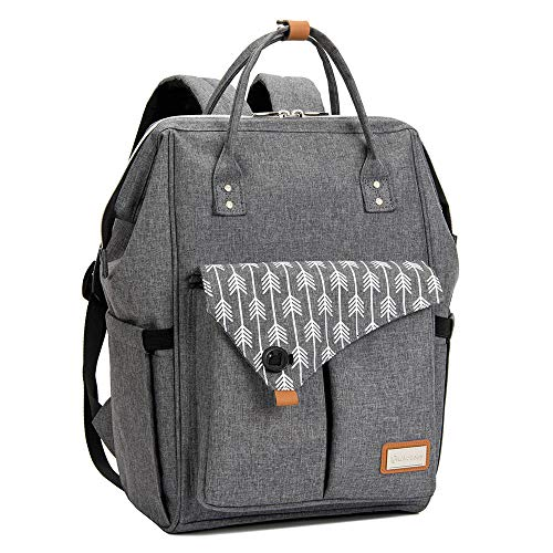 Lekebaby Baby Nappy Changing Backpack Bag with Changing Mat, Arrow Print, Grey