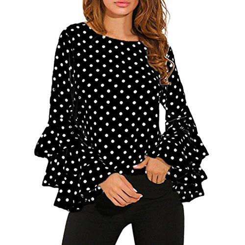 DOLDOA Art und Weisefrauen lange Hülsen lose Polka Punkt Hemd Damen beiläufige Blusen Oberseiten (EU: 48, Schwarz) (Rock Dots Falten Polka)