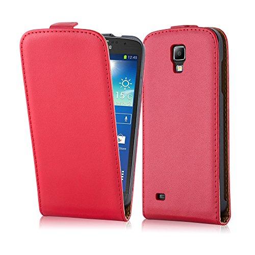 Cadorabo Hülle kompatibel mit Samsung Galaxy S4 Active Hülle in Chili ROT Handyhülle aus glattem Kunstleder im Flip Case Cover Schutzhülle Etui Tasche (S4 Handy Cover Flip)