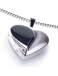 Anhänger Medaillon Herz mit 1 Zirkoniastein weiß zum öffnen 925/- Sterling Silber 20 x 20 mm, Panzerkette inkl. Gravur