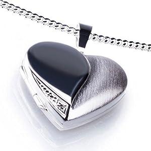 Anhänger Medaillon Herz mit 1 Zirkoniastein weiß zum öffnen 925/- Sterling Silber 20 x 20 mm, Panzerkette inkl. Gravur (ohne Gravur, 60 Zentimeter)
