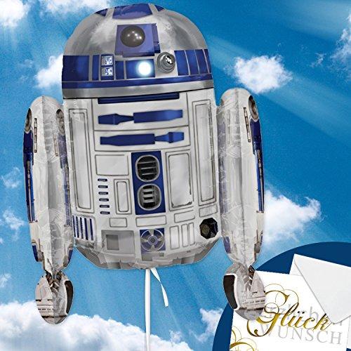 Folienballon Star Wars - R2D2 XXL 66cm, Luftballon für Kinder + Geschenkkarte + Helium & Ballongas geeignet. Starwars Geschenk für Kinder & lustige Ballon Deko Kindergeburtstag
