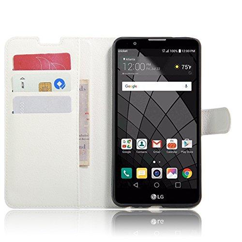 Tasche für LG Stylus 2 (2 Generation) / Stylus 2 Plus Hülle, Ycloud PU Ledertasche Flip Cover Wallet Case Handyhülle mit Stand Function Credit Card Slots Bookstyle Purse Design weiß