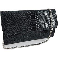 Freyday Echtleder Damen Clutch Tasche Abendtasche Muster Metallic 25x15cm (Schwarz Snake)