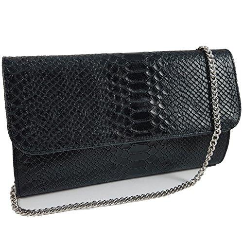 Snake-clutch (Echtleder Damen Clutch Tasche Abendtasche Muster Metallic 25x15cm (Schwarz Snake))