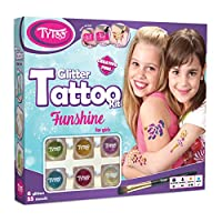 Funshine Glitter Tattoos Mega Kit for Girls with 55 pcs stencils - HYPOALLERGENIC AND CRUELTY FREE - 8-18 lasting temporary tattoos