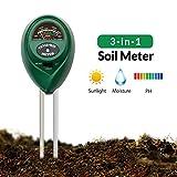 KOBWA Boden-pH-Meter, 3-in-1-Bodenprüfgerät für Feuchtigkeit, Licht und pH, Bodentester Feuchtemessgerät für Garten, Rasen, Landwirtschafts PflegeBodentester-Anzeige (Keine Batterie erforderlich)