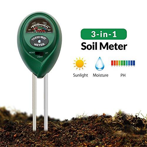 Boden Feuchtigkeit Meter, AOLVO Industrie Boden PH-Messgerät-in Boden Test Kit für Feuchtigkeit/Licht/PH, Handheld Digital Soil Tester–Hilft Feuchtigkeit Pflanzen Wachstum–Boden-Sensor für Hof, Garten, Rasen