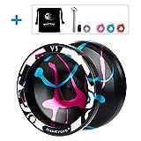 CHEE MONG Magic Yoyo Professionelles Responsives Yoyo Metal Yoyo V3, Ersatz-Yoyo-Ersatzlager für fortgeschrittene Spieler, mit + Bonus + Peilung + Lagerwerkzeug + 3 Saiten (Black & Blue & Pink)