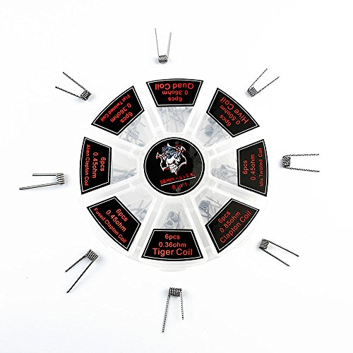 Killer Box (Demon Killer Vape Spulen, 8 in 1 Spulen Gewalt Heizdraht für RBA / RDA / RTA Tank elektronischer Zigarette aufbaubarem Atomisator, Vaping Coil Box Set, E Zigaretten-Drähte, kein Nikotin)