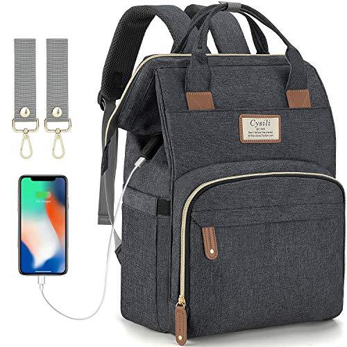 Baby Wickelrucksack Wickeltasche mit USB-Ladeanschluss und 2 Kinderwagengurten Multifunktional Große Kapazität Babytasche Reisetasche für Unterwegs (Dunkel Grau)