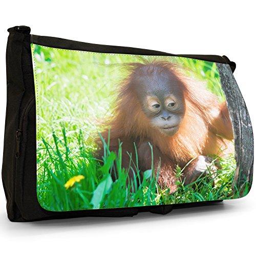 Orangutan Scimmia primati animali grande borsa a tracolla Messenger Tela Nera, scuola/Borsa Per Laptop Hiding Baby Orangutan