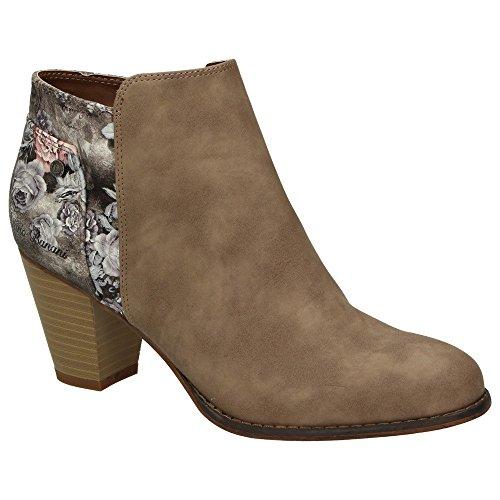 Bruno Banani 253-336 Damen Schuhe Freizeit Stiefelette Ankle Boots Leder-Optik Blumenmuster Braun
