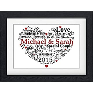 PERSONALISED WEDDING MARRIAGE GIFT PRESENT WORD ART PRINT GIFT (WITH FRAME)
