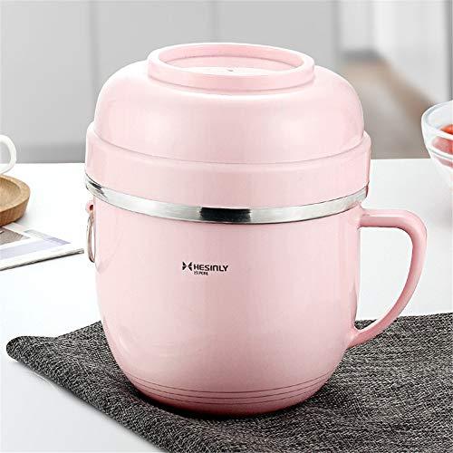 iHouse 2-lagiger isolierter Lebensmittelbehälter aus Edelstahl, auslaufsicher, große Kapazität, tragbare Brotdose für Kinder und Erwachsene, 14,7 x 9,8cm, rosa Buchstaben -