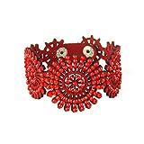 CAOLATOR Schmuck Damen Armband Retro Diamantverkrustet Lederarmband Sonne Armbänder Kreativ Armkette Exotischer Stil Handgewebt Armreif (Rot)