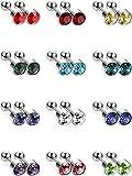 12 Paia Orecchini a Bottone in Acciaio Inox Set Cartilagine Elica Orecchio Piercing Bilanciere a Bottone Gioielli del Corpo, 12 Colori, 18 Gauge