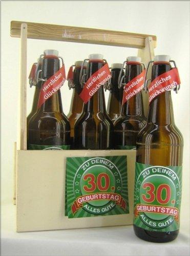 6er Bierträger aus Holz Spruch zum 30. Geburtstag