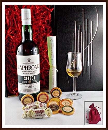 Geschenk Set Laphroaig Select mit 9 DreiMeister Edel Schokoladen, 4 Edradour Whisky Fudge, 1 Glas, kostenloser Versand