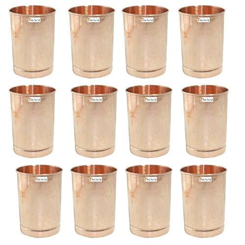 Satz von 12 - Prisha Indien Craft ® Kupferbecher Wasserglas - Handgemachte Wassergläser - Traveller's Kupfer Glaskrug für Ayurveda Leistungen - WEIHNACHTSGESCHENK LOS